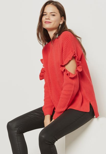 Ruffle Sleeve High Low Sweater