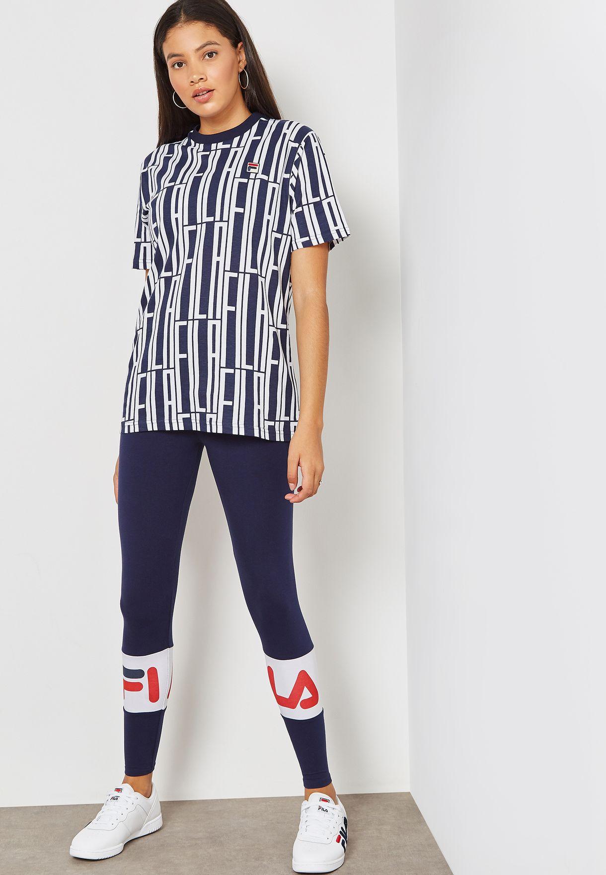 Shop Fila blue Dina Back Seem Leggings LW183Y63-410 for Women ... eedeb0c7ff4