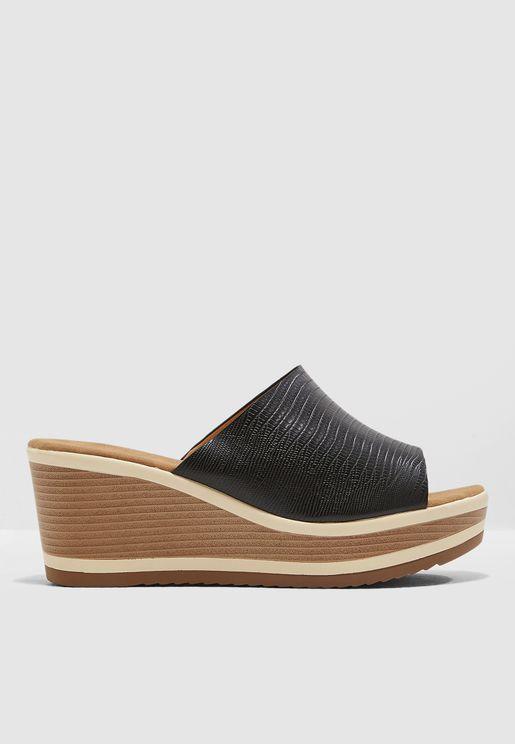 Wedged Mule Sandal