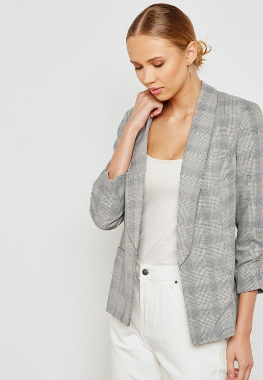 Checked Ruched Sleeve Blazer