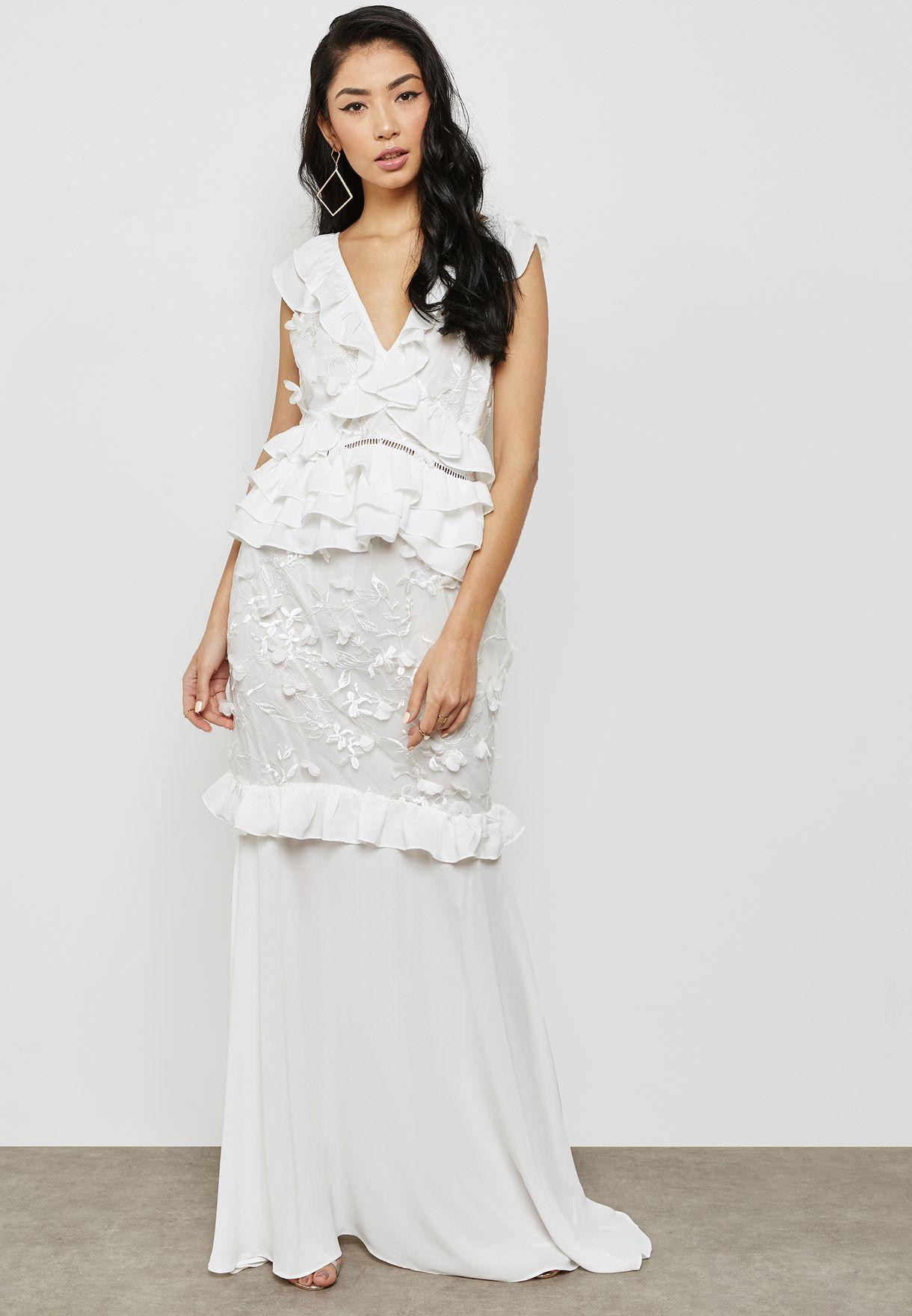 فستان مكسي مزين بكشكش