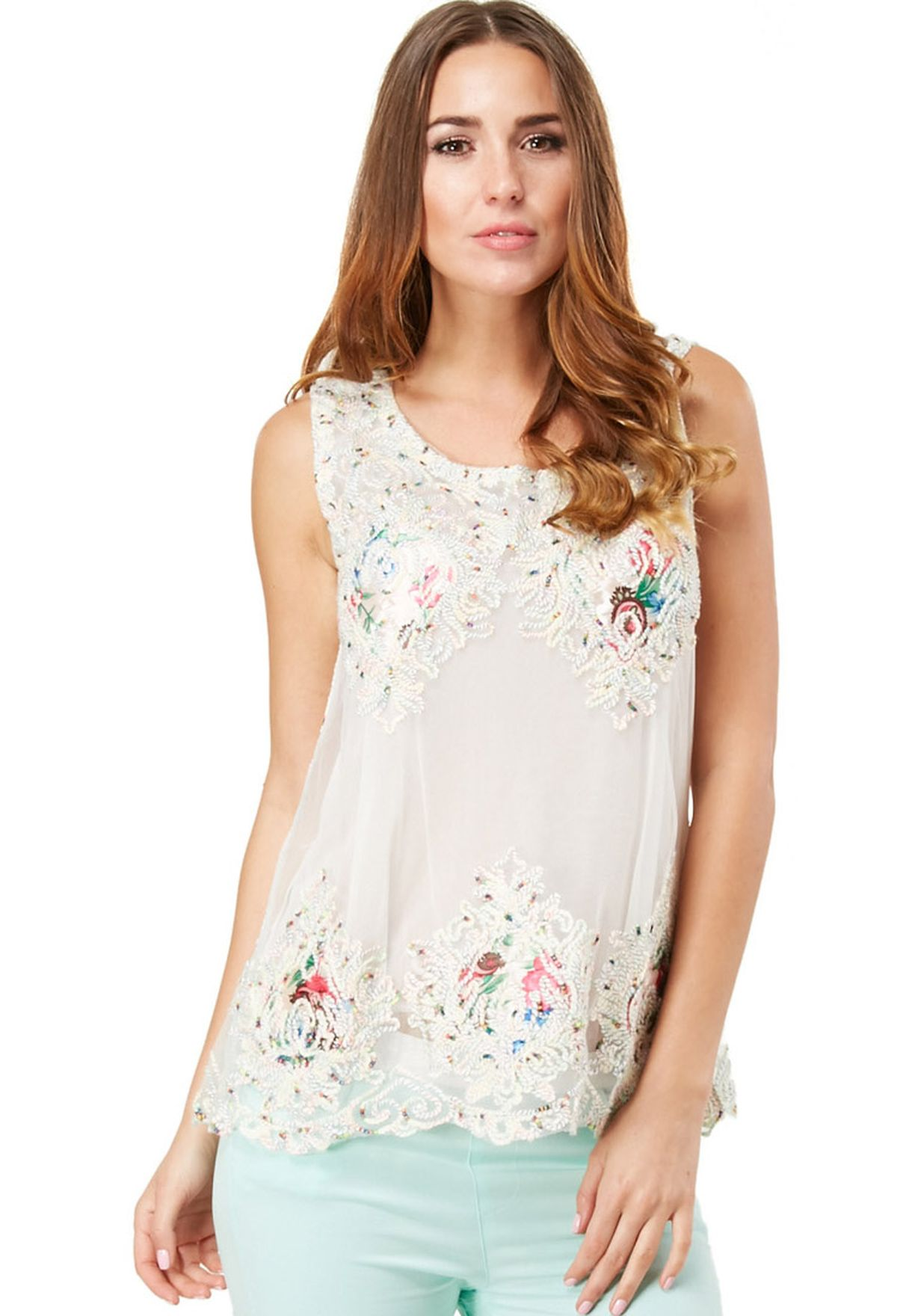 e616c4b23d1f0d Shop Ginger white Floral Organza Top for Women in Qatar - GI121AT97KBM