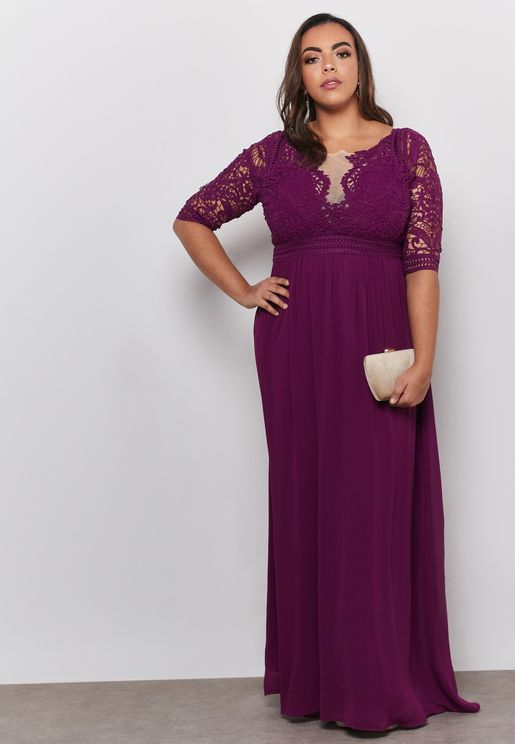 3/4 Sleeve Lace Detail Maxi Dress