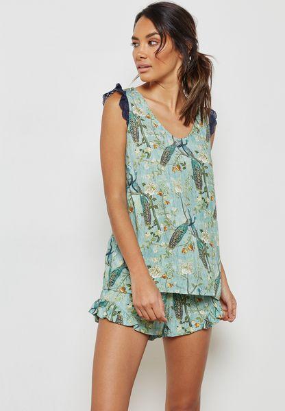 Printed Top Lace Detail Shorts Set