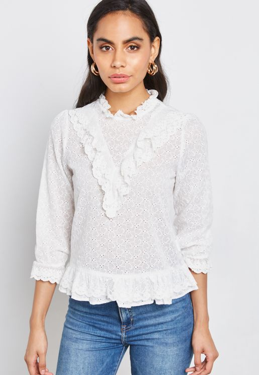 Ruffle Detail Lace Top
