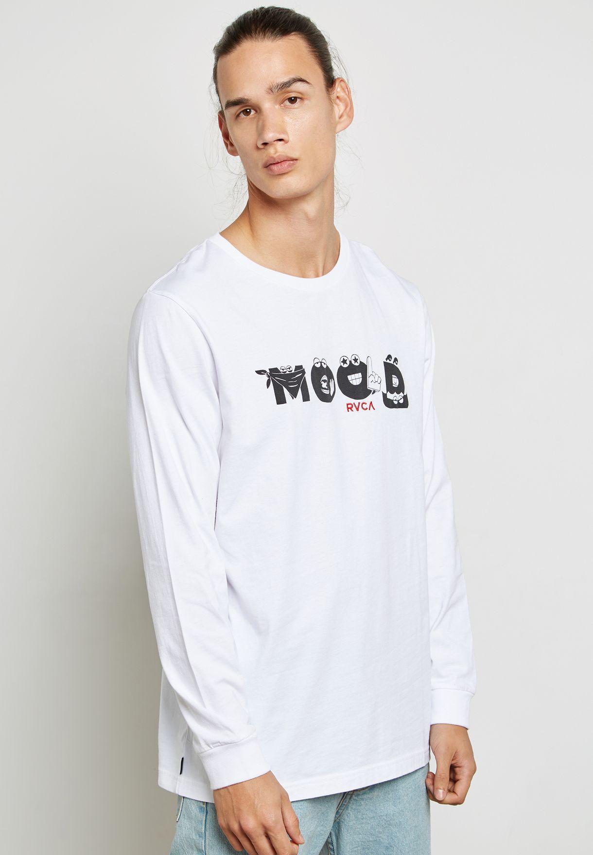 b70c6840c Shop RVCA white Mood T-Shirt R171101-WHI for Men in Bahrain ...