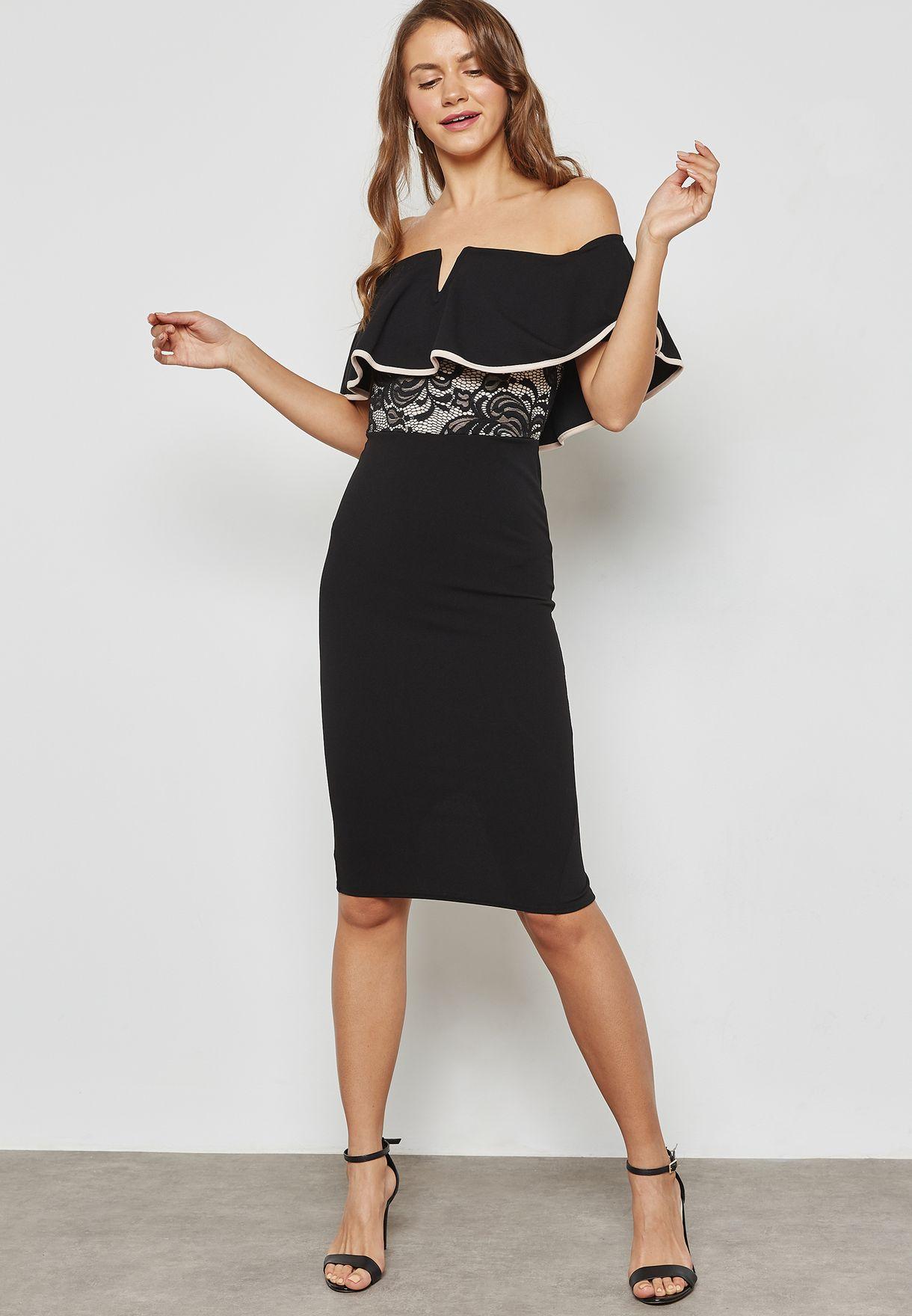 5c8280b06ac9d2 Shop Ginger black Lace Insert Ruffle Bardot Dress M847 for Women in ...