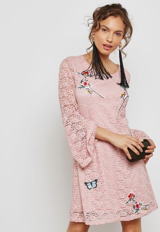 Flute Sleeve Printed Dress