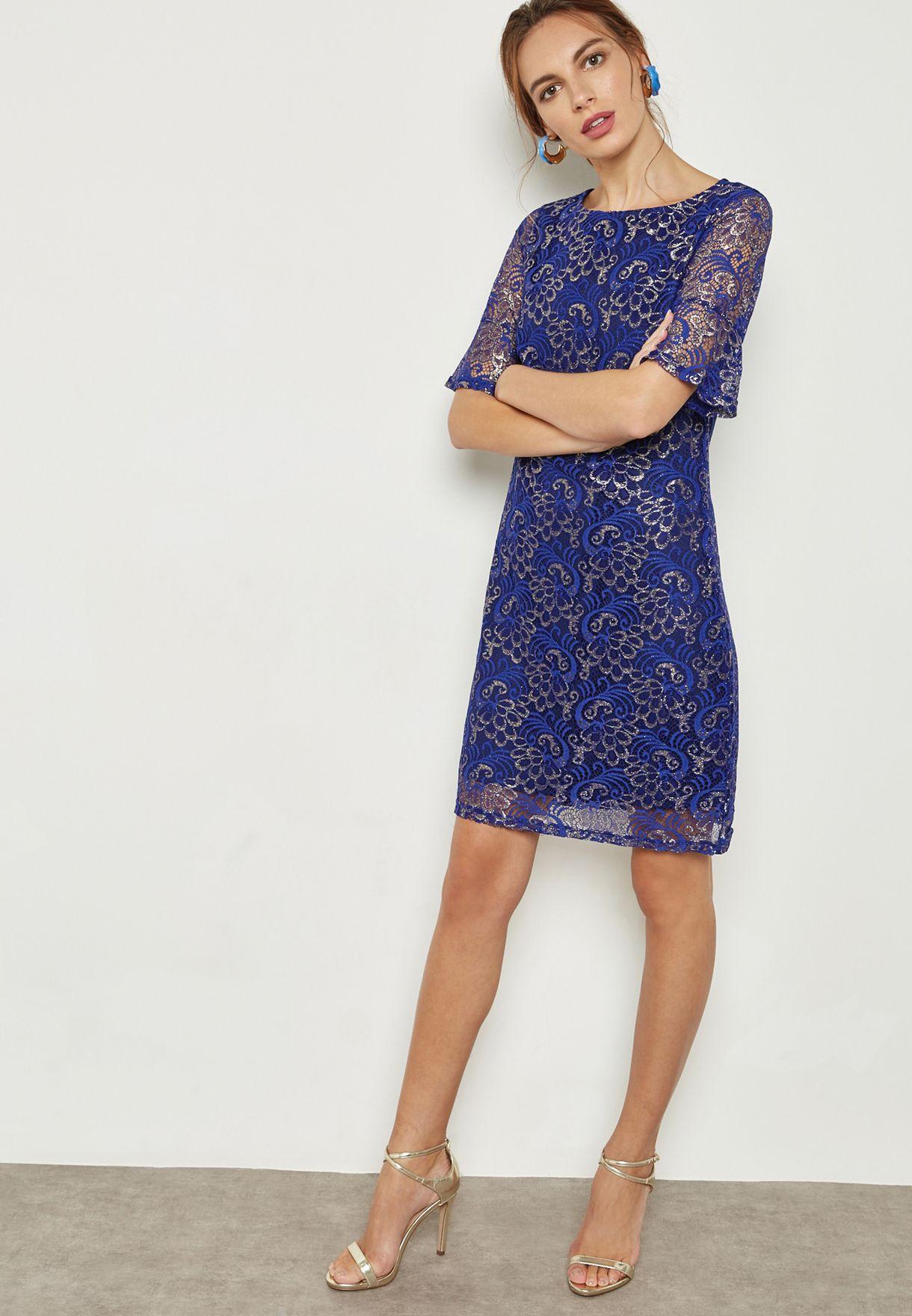 Shimmer Lace Shift Dress
