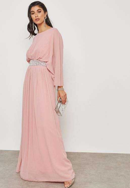 Embellished Self Tie Pleated Dress