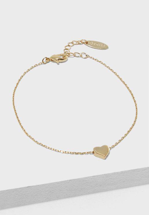 Thread Heart Chain Bracelet