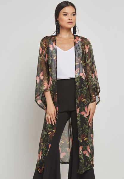 Longline Floral Sheer Kimono