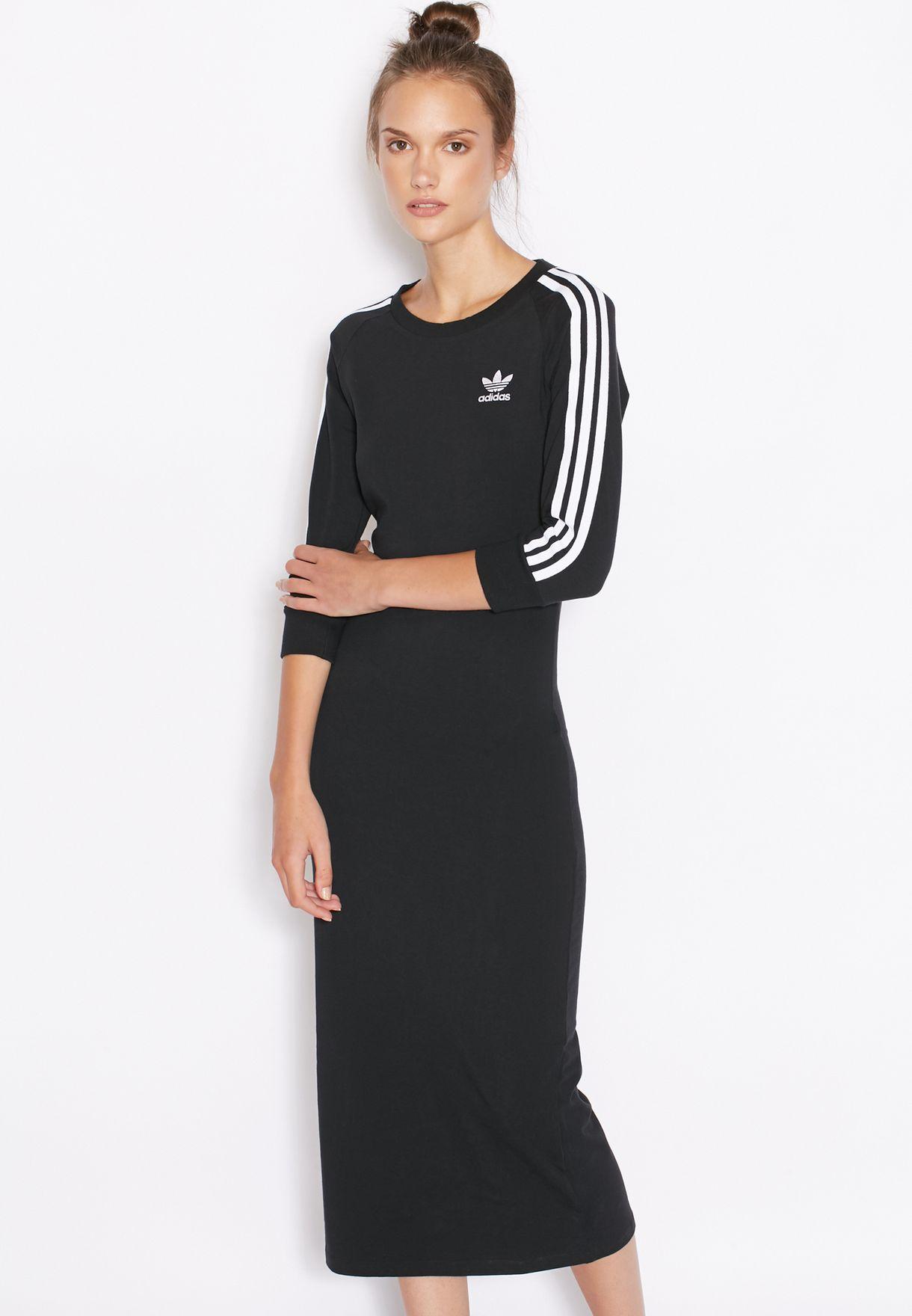 eaa2c602d9c7 Shop adidas Originals black 3 Stripe Dress AY5251 for Women in Qatar ...