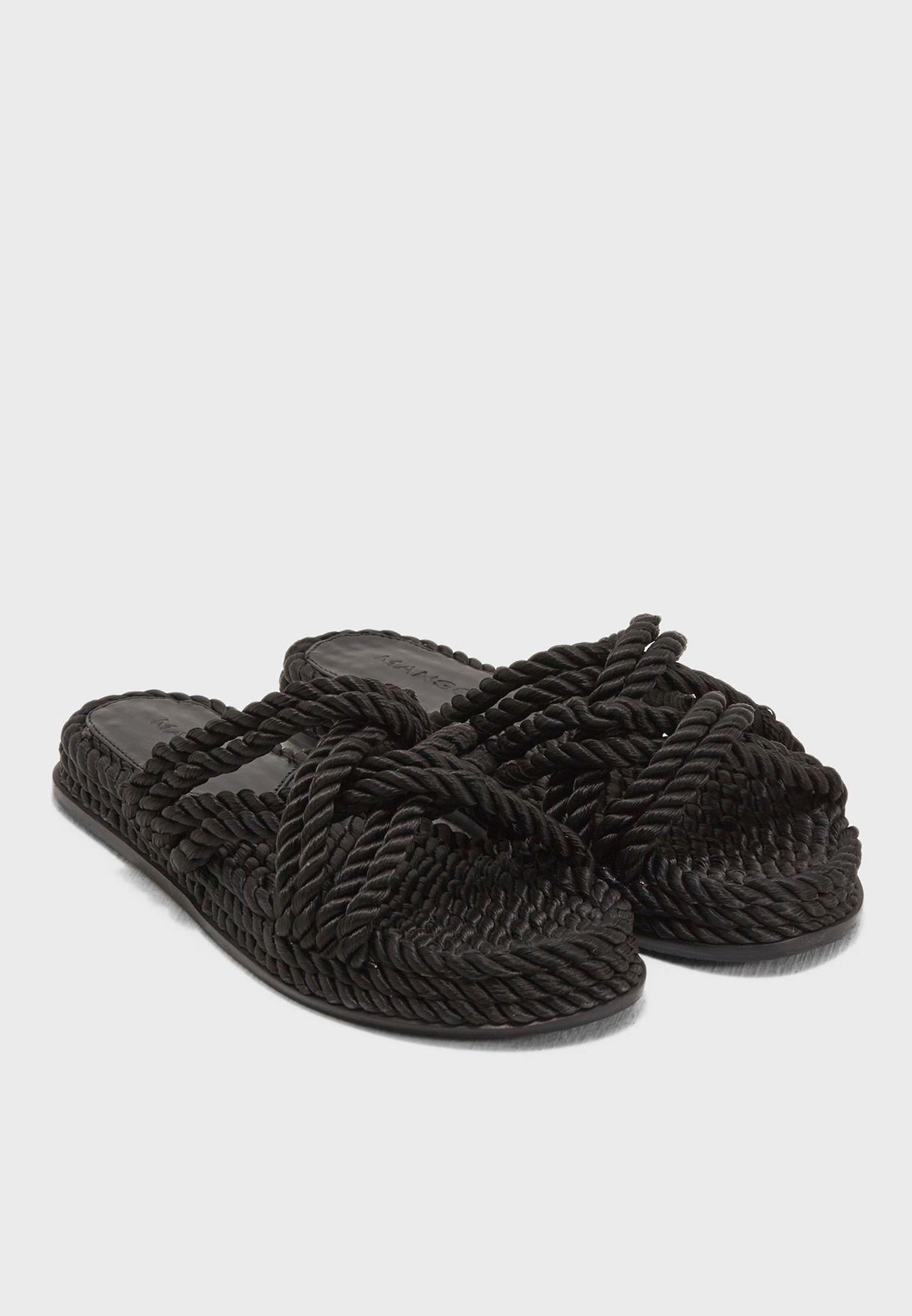 f02b72d1e6f Shop Mango black Rope Interwoven cord sandals 23047663 for Women in ...