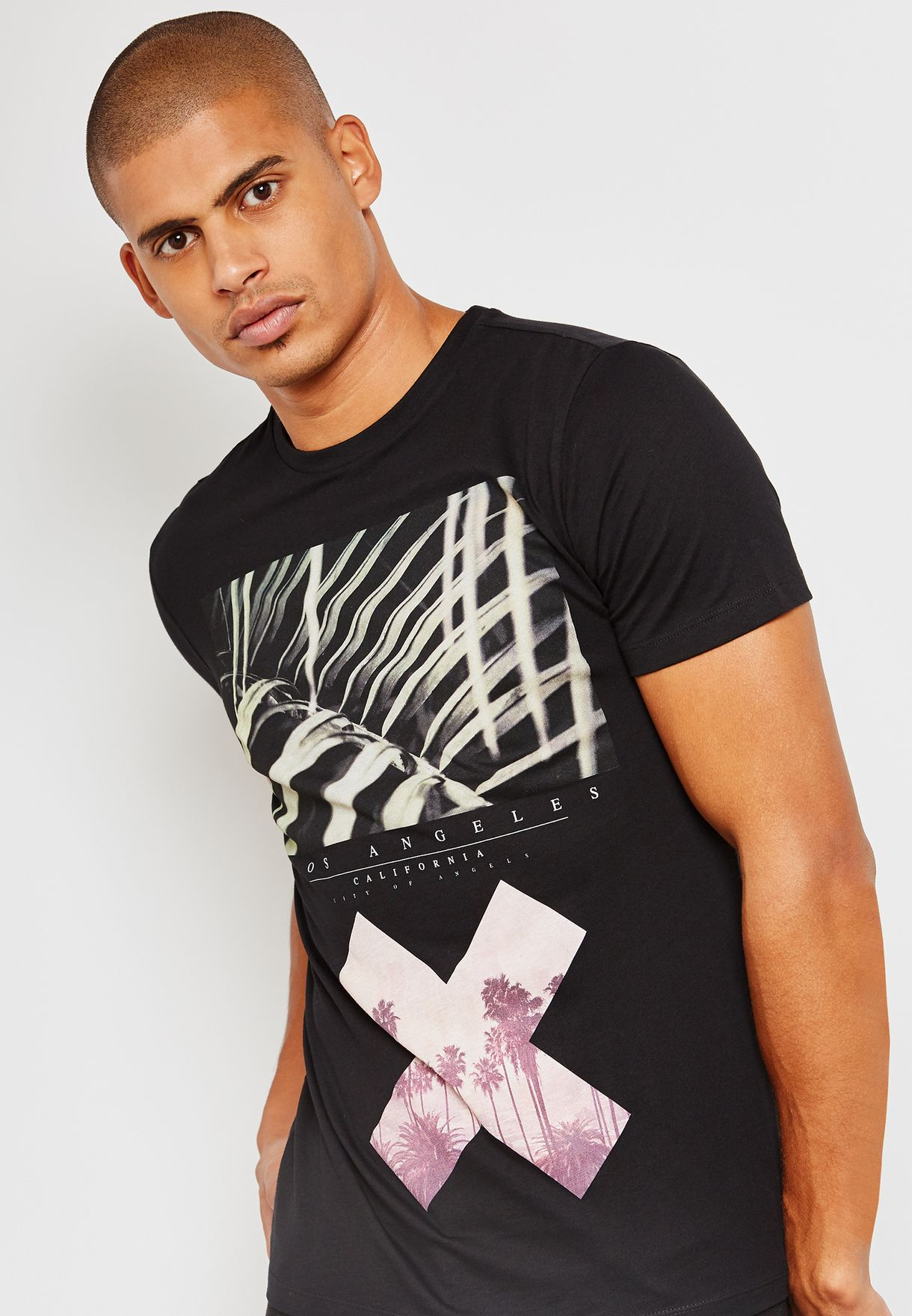 897c8ce53a Shop New Look black Cross Print Muscle Fitted T-Shirt 580287701 for ...