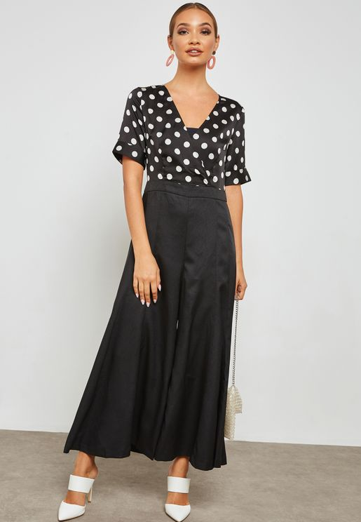 Dotted Wide Leg Jumpsuit