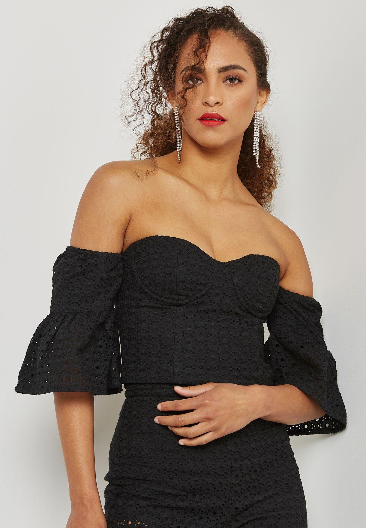 c99996abf07bcb Shop Bardot black Broderie Bardot Top 50105TBX1 for Women in UAE ...