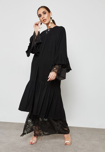 Pleated Trim Dantel Insert Abaya