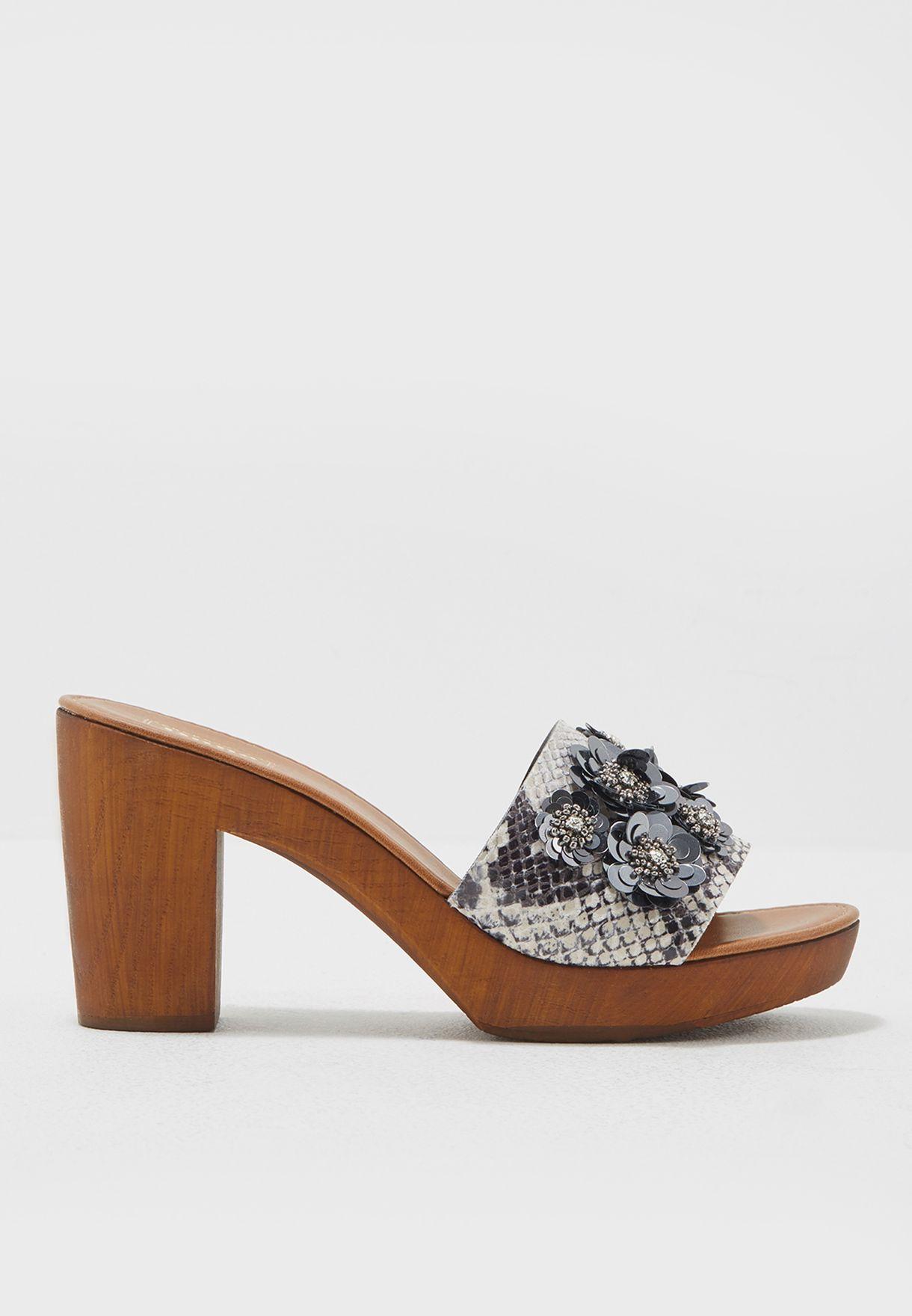 508021d065 Shop Dune London prints Flower Embellished Block Heel Sandal ...