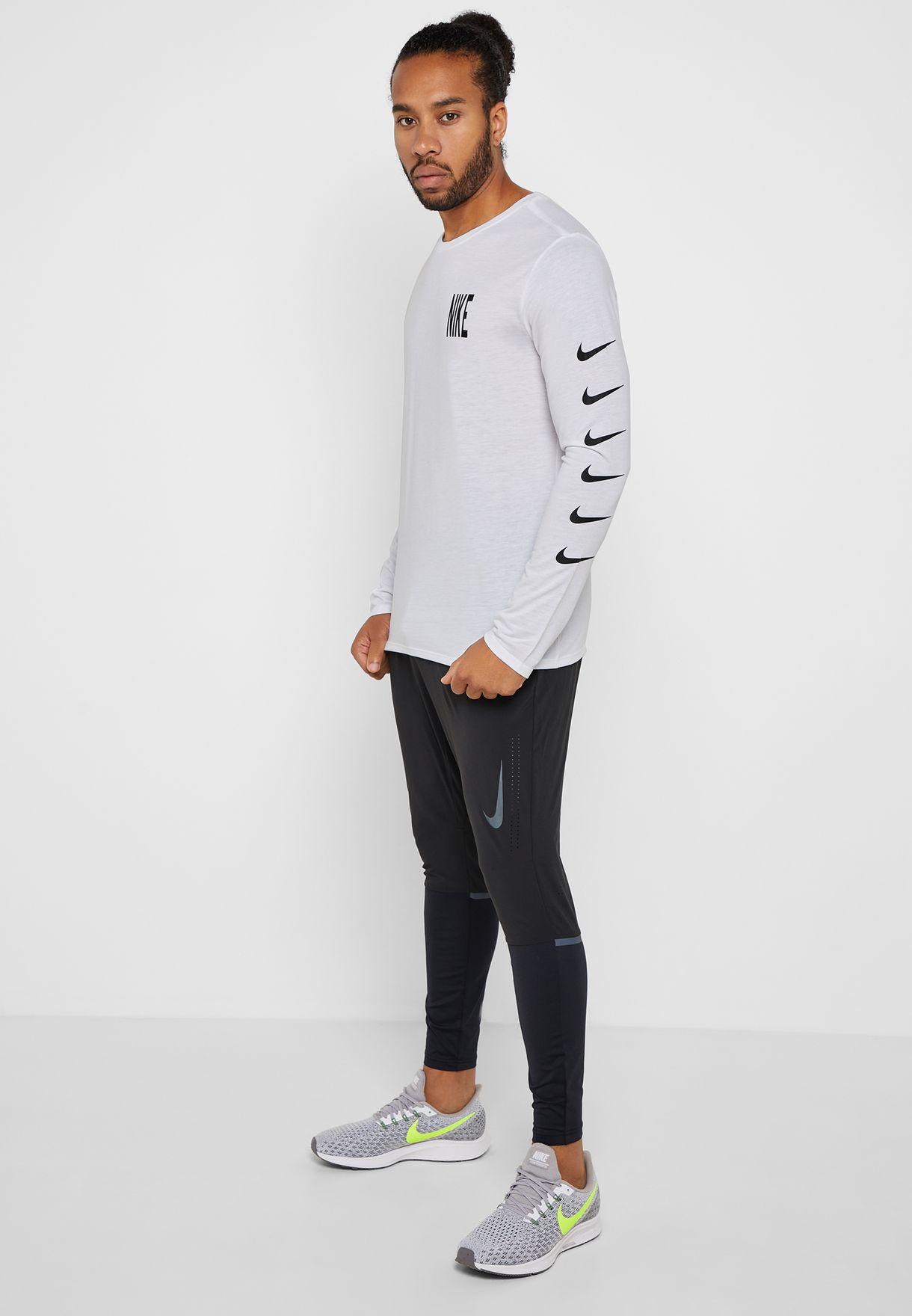 6edffe78 Shop Nike white Dri-FIT Run Division T-Shirt AA9445-100 for Men in ...