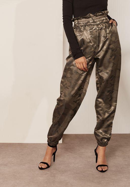 High Waist Cam Print Paper Bag Pants