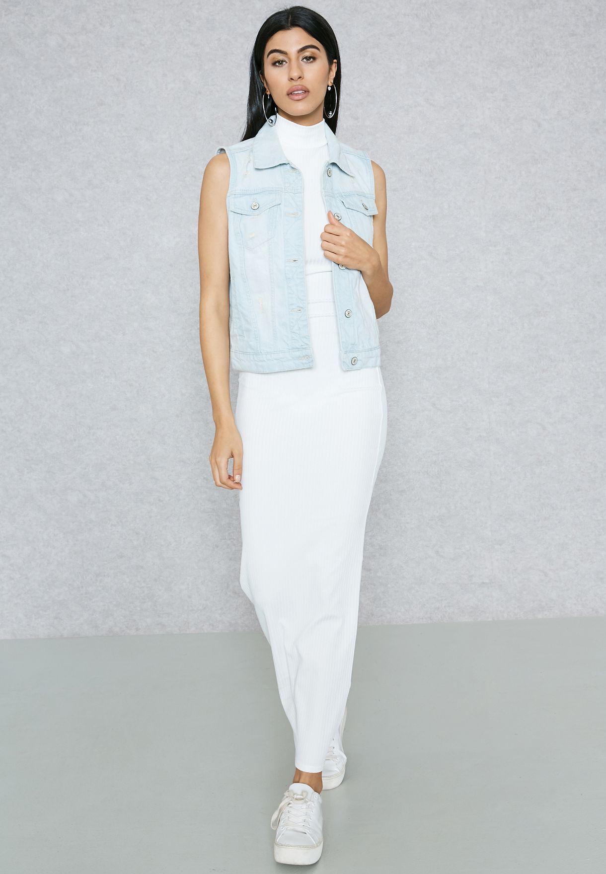 73b60576660 Shop Ginger Basics white Ribbed High Neck Maxi Dress M572 for Women ...
