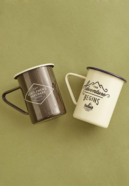 2 Pack Enamel High Mug