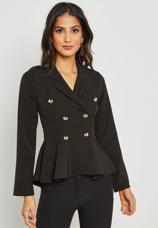 Double Breasted Peplum Blazer