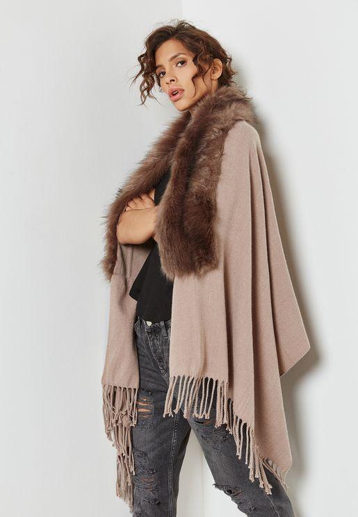 Faux Fur Shawl Fringed Cardigan