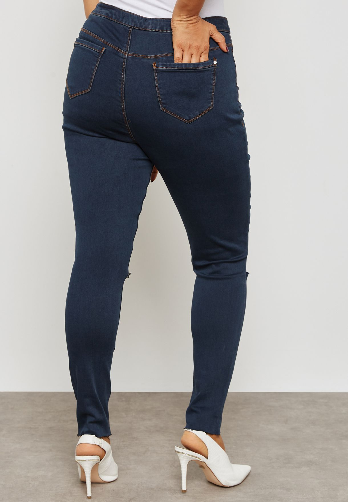 High Waisted Knee Slash Jeans