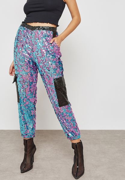 Pocket Detail Sequin Pants