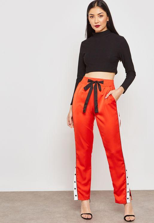 Contrast Side Button Paneled Pants