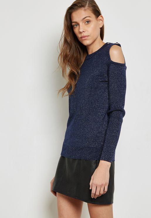 Shimmer Cold Shoulder Sweater