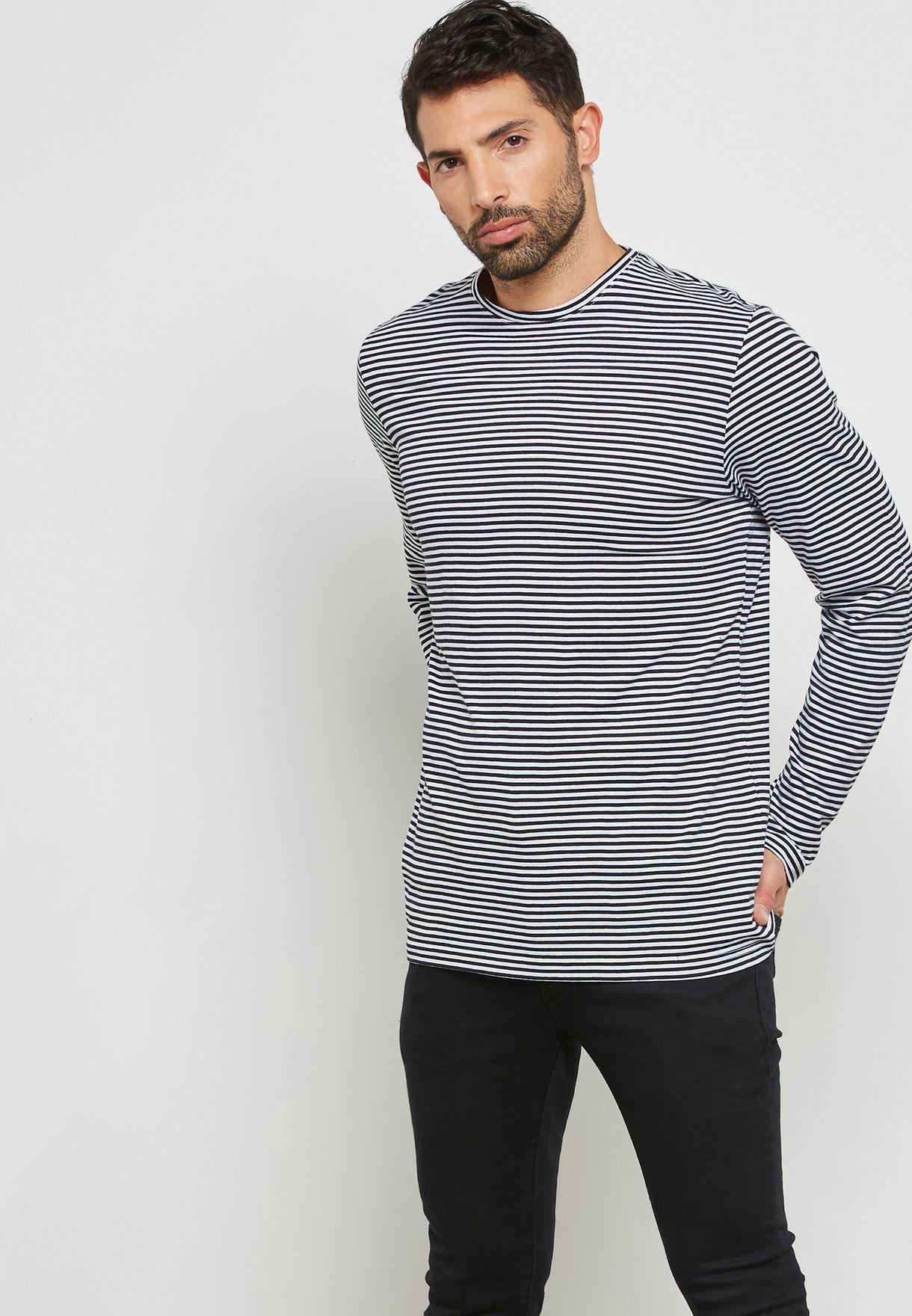 2e1ae9e34cee Shop Forever 21 monochrome Striped Crew Neck T-Shirt 280557 for Men in  Qatar - FO057AT97RLA