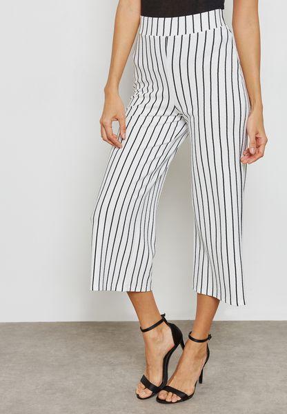 Striped Cropped Wide Leg Pants