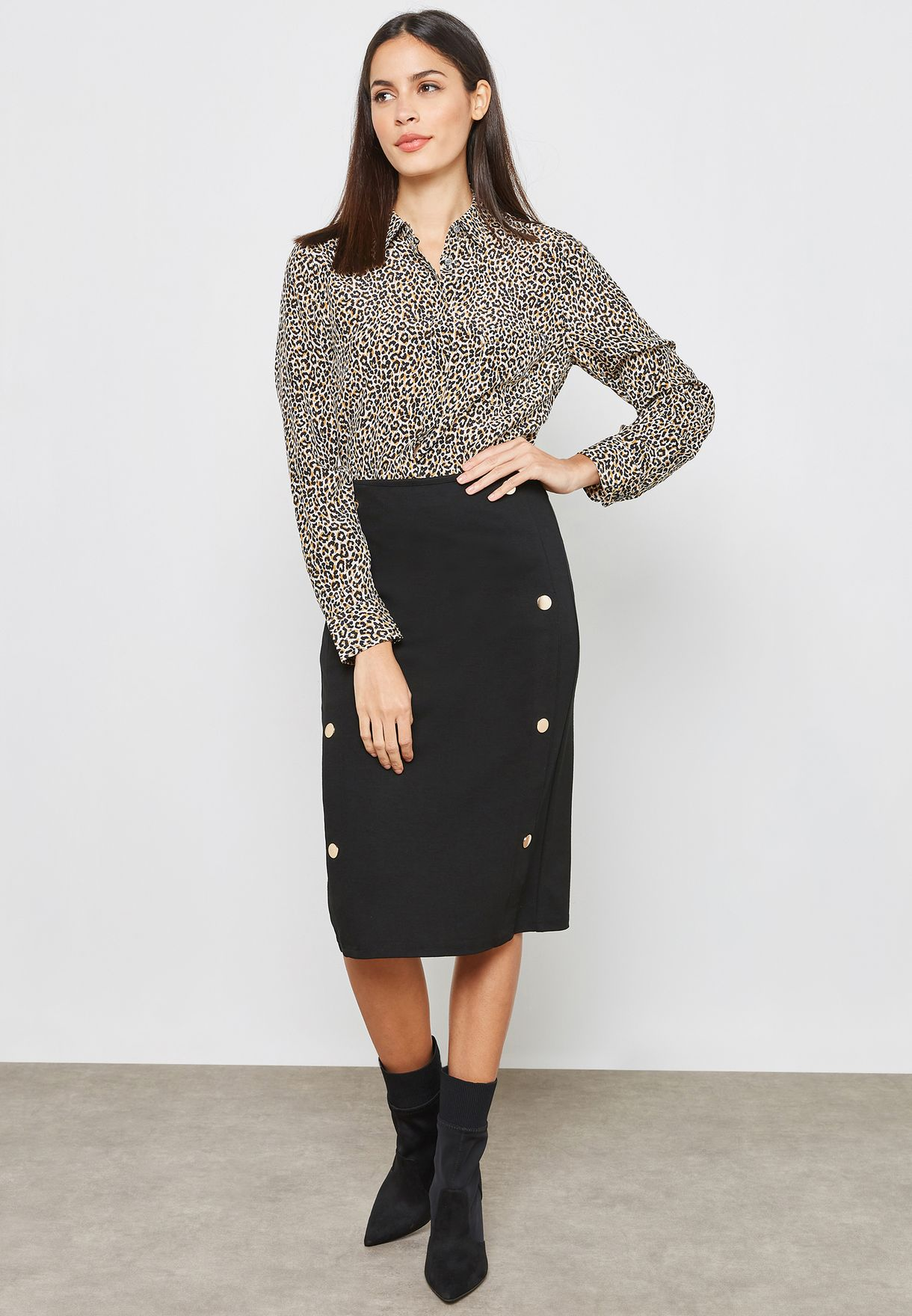 Button Side Pencil Skirt
