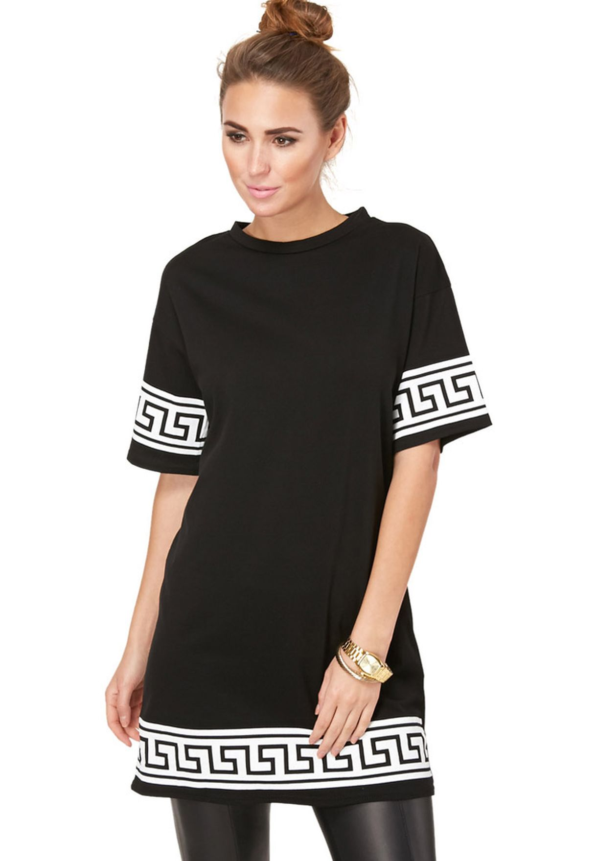 0e305e2d06c Shop Missguided black Oversized T-Shirt Dress for Women in UAE ...