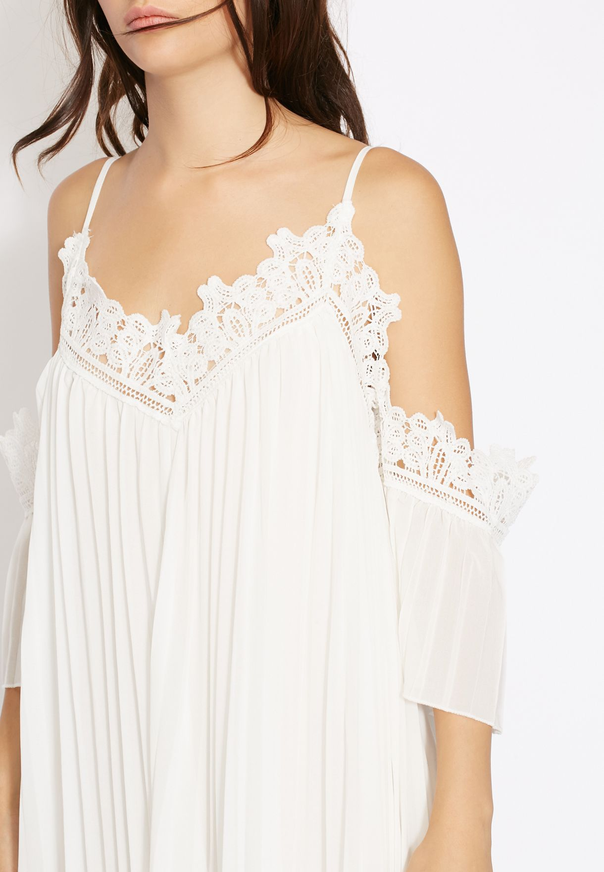 4db088179d9a Shop Ginger white Lace Trim Cold Shoulder Maxi Dress for Women in ...