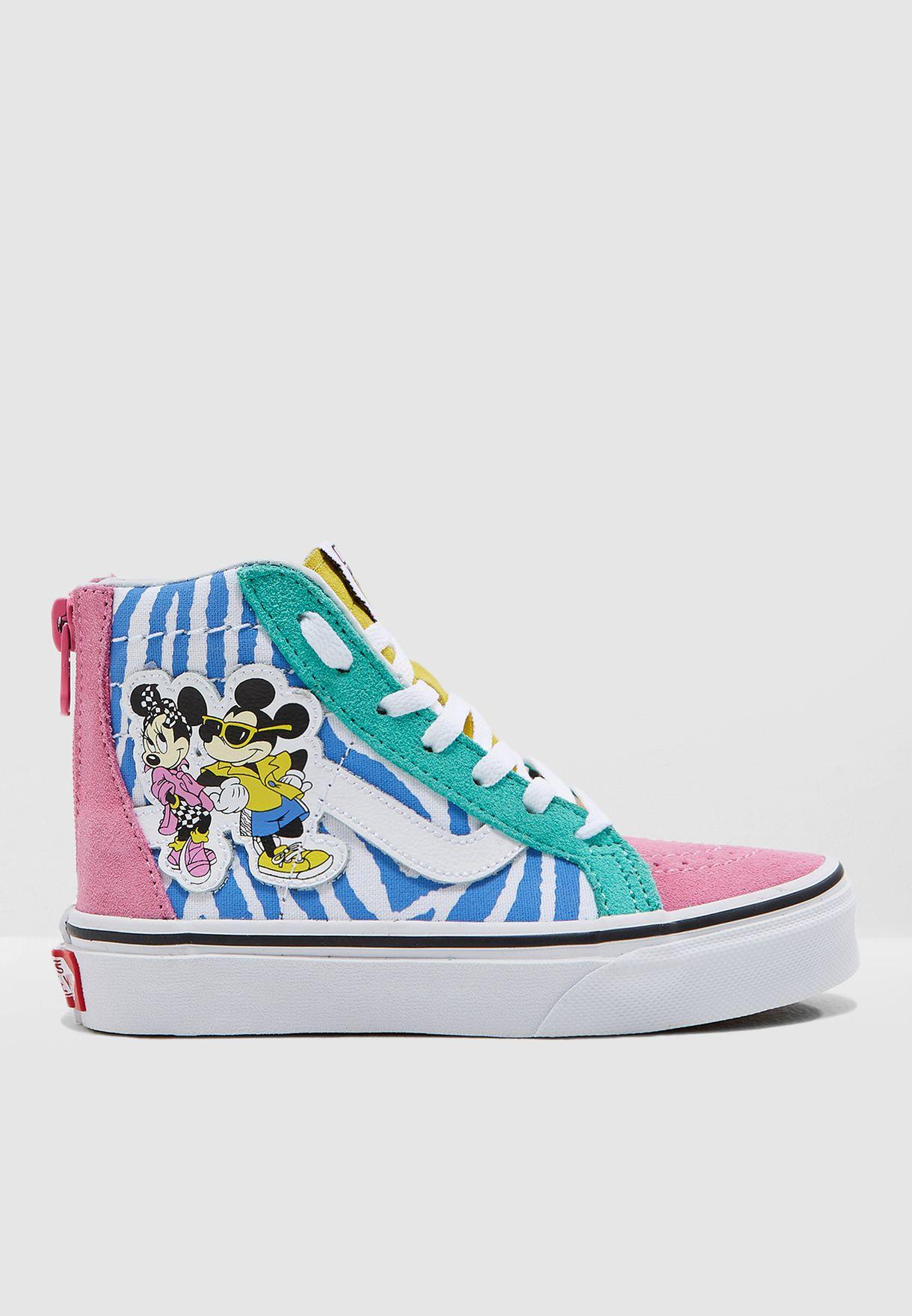 f7bd2d1c7afa7b Shop Vans multicolor Kids Mickey SK8-Hi Zip VA3276UJE for Kids in ...