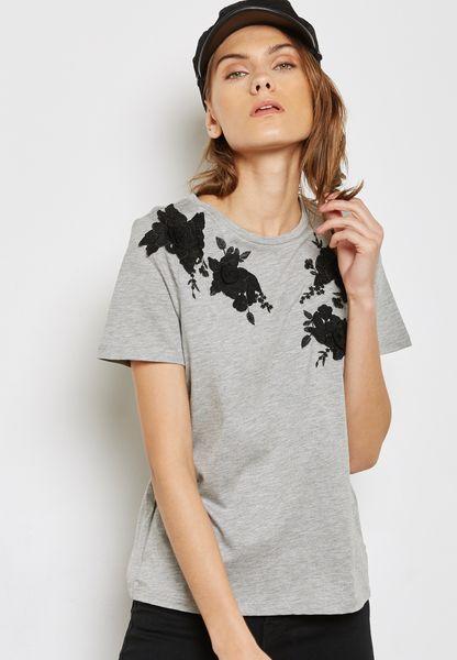 3D Floral Applique T-Shirt
