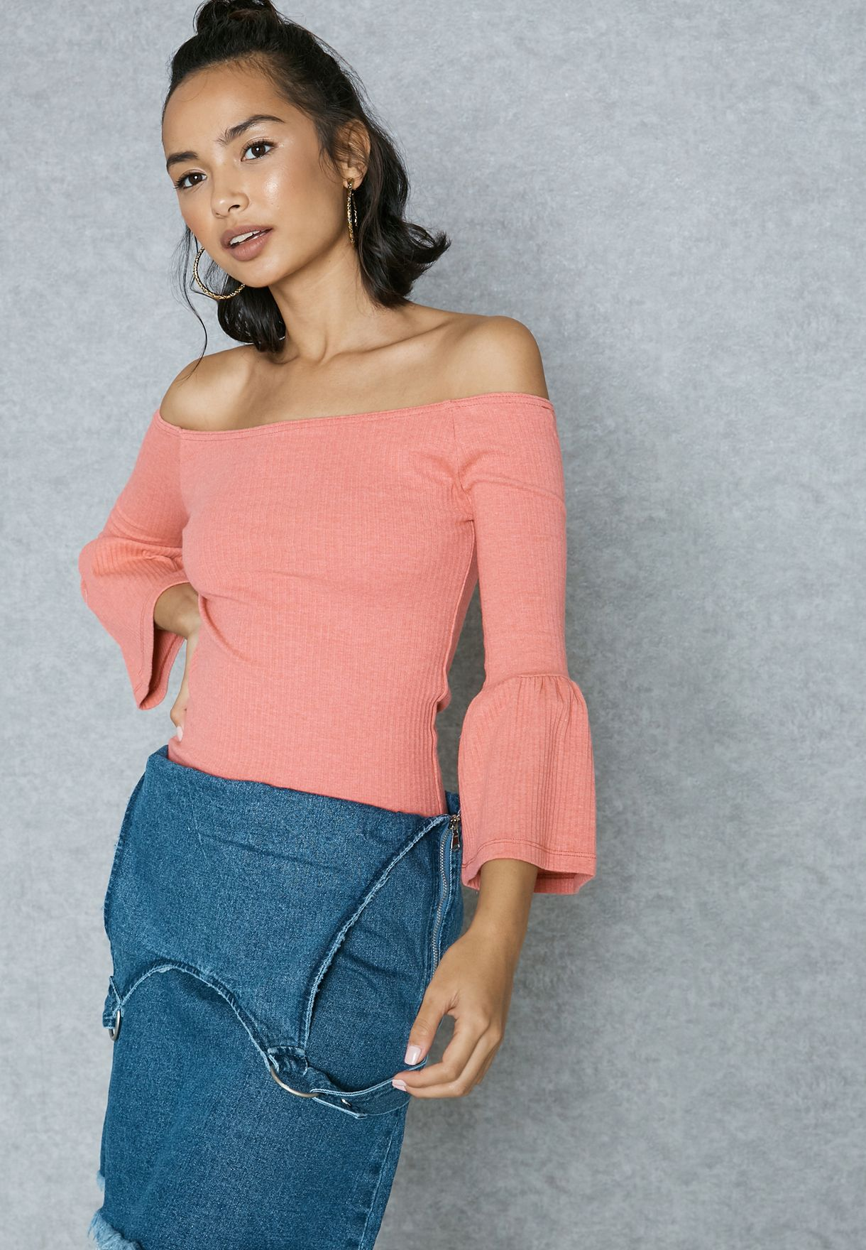 8dd3ee9ff0 Shop Missguided pink Ribbed Fluted Sleeve Bardot Top TJ412425 for Women in  Oman - MI669AT97KPM