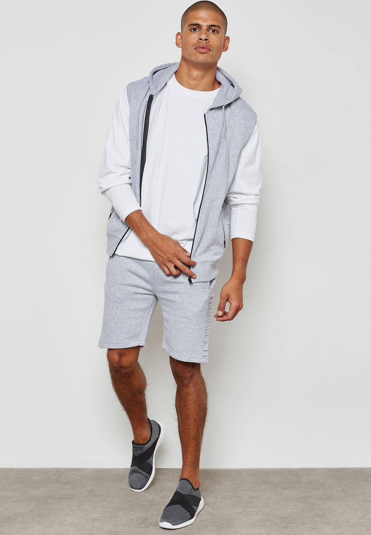 Shop Fifteen Minutes grey Ribbed Hoodie +Shorts Set TS2291 - Grey ... d8629916e