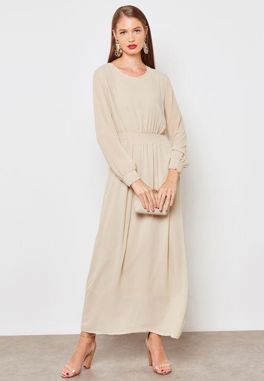 Shirred Trim Maxi Dress