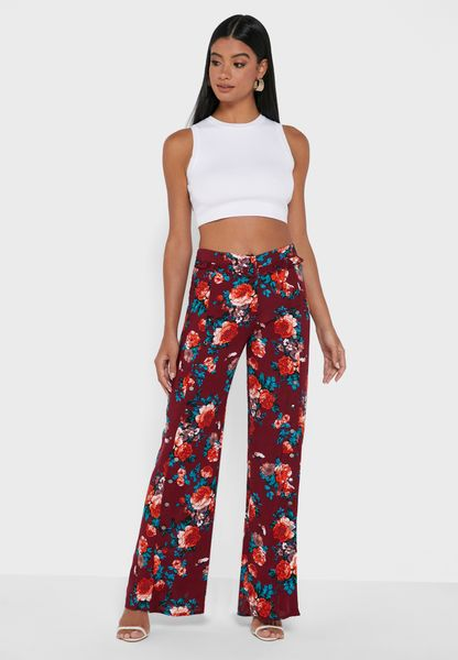 Slit Detail Printed Pants