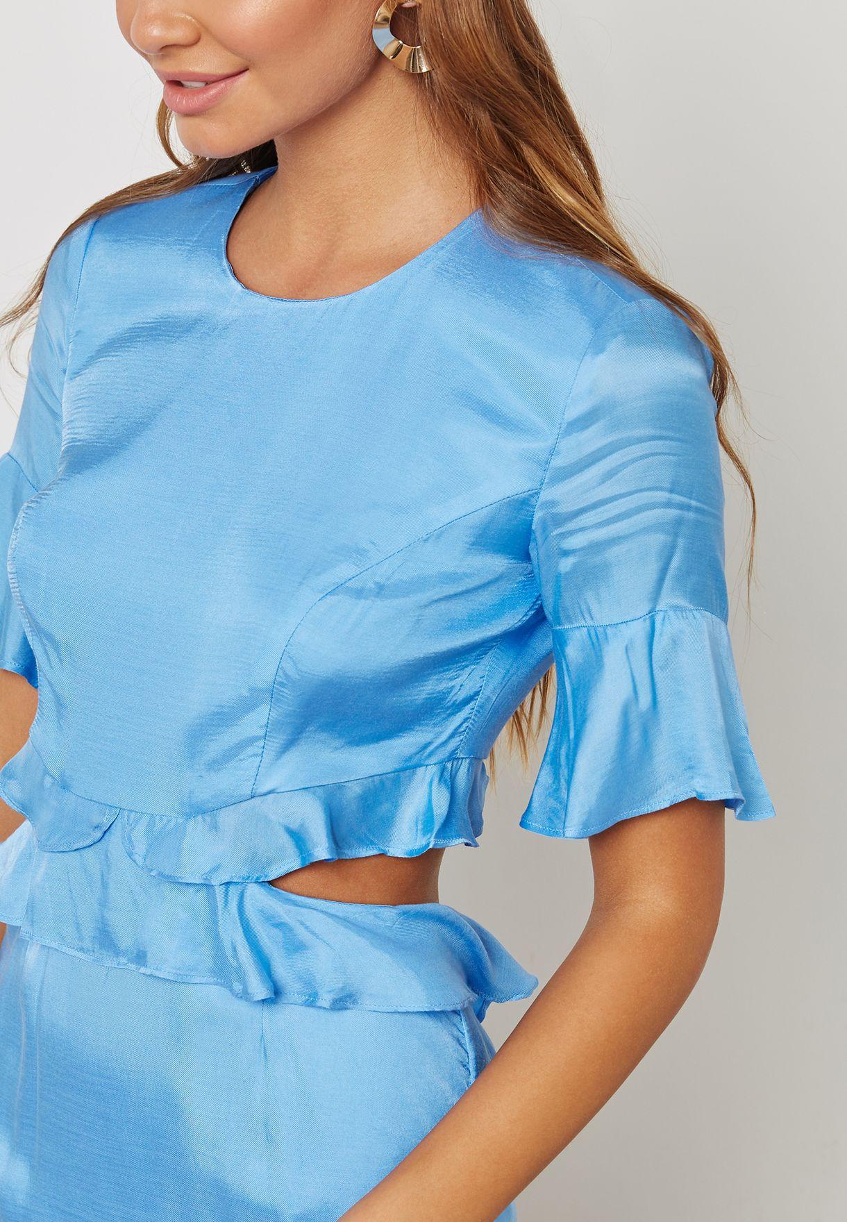 Ruffle Detail Cut Out Dress