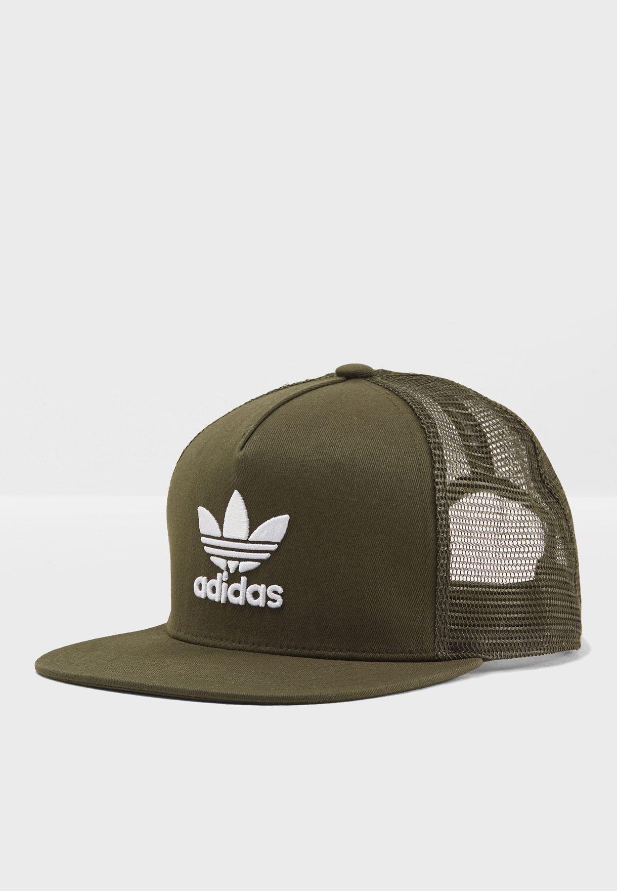 Shop adidas Originals green Trefoil Trucker Cap CD6981 for Men in ... a2b45e99c7a5