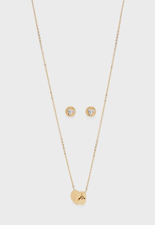 Set Of Pendant Necklace & Stud Earrings