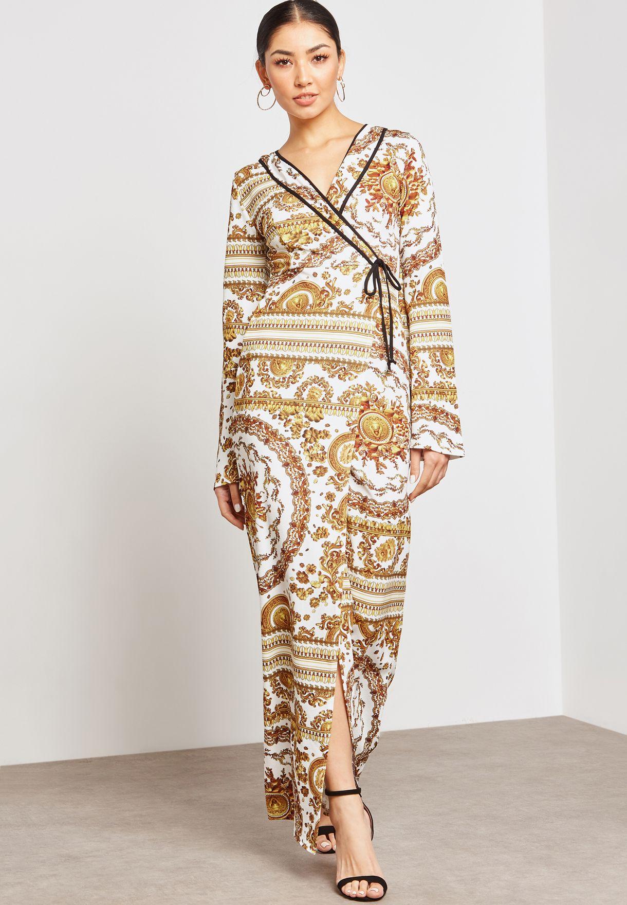 Baroque Print Wrap Front Maxi Dress