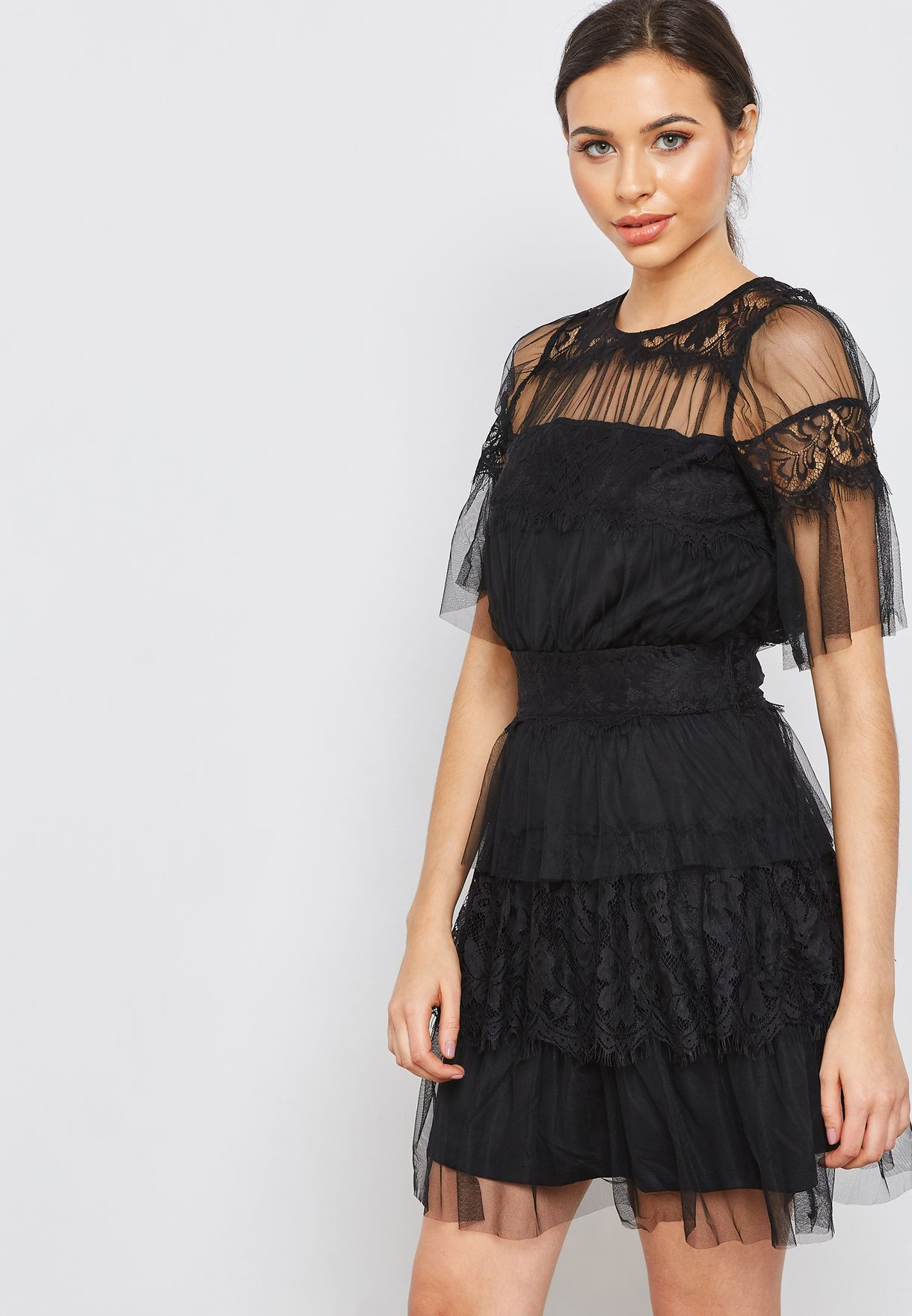 Mesh Detail Tiered Dress
