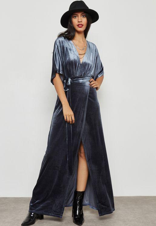 Velvet Maxi Wrap Dress